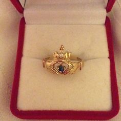 10KSolid Gold W/ Emeralds and Diamond Claddagh rin Gold emerald claddagh ring. Gold 10k with emerald in the heart and diamonds in the crown. Vintage Jewelry Rings