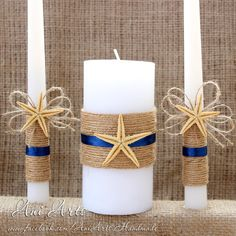 Nautical Unity Candle Set, Rustic Wedding Candle Set, Burlap Unity Candles, Wedding Candles with burlap rope navy blue ribbon and starfish Burlap Candles, Pillar Candles, Nautical Wedding Theme, Rustic Wedding, Wedding Ceremony Ideas, Outdoor Ceremony, Velas Diy, Candle Arrangements, Wedding Unity Candles