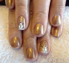 CND Shellac in Sugared Spice with freehand snowman art xDBDx I'd like a pale blue shellac, too.