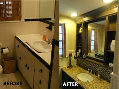 Gallery One Bathroom Vanity Cabinet Before and After Installed Custom Built in Mirror New Granite Top Glass Mosaic Backsplash New Paint New Floor Ti