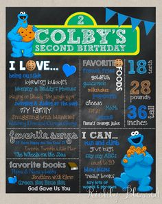 Cookie Monster Birthday Chalkboard Poster, First Birthday, Second Birthday,Milestone Poster, Photo Prop, Cookie Monster Party, Sesame Street by RichlyBlessedBlog on Etsy https://www.etsy.com/listing/292597389/cookie-monster-birthday-chalkboard