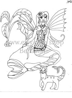 Hand Drawn winged Mermaid Mythical coloring page by Bellasfair