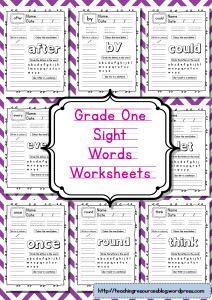 Grade one sight words worksheets Grade 1 sight word worksheets