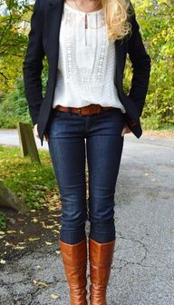 Lace top, blazer, je...