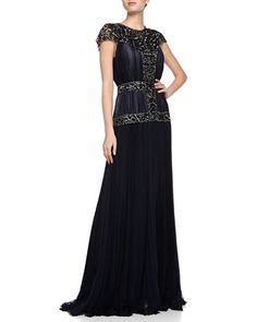 Silk Mousse Embellished Pleated Gown, Marine  by J. Mendel at Neiman Marcus.