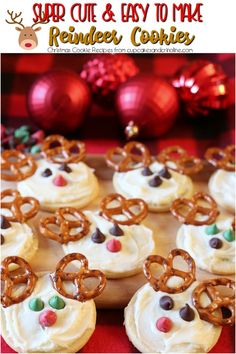 Super cute and easy-to-make Reindeer Cookies - Christmas Cookie Recipes from www.cupcakesandcrinoline.com