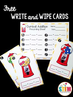 SAVED Free addition write and wipe cards! Perfect for kindergarten or first grade math. Fun addition game for a math center! Math For Kids, Fun Math, Math Games, Math Activities, Therapy Activities, Subtraction Activities, Addition Activities, Preschool Worksheets, Math Classroom