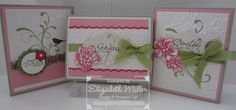 Everything Eleanor stamp set.  Colours - Pear Pizzazz, Melom Mambo, Pretty in Pink, Sahara Sand, Soft Suede, Whisper White