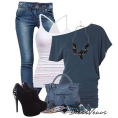 Cold shoulder tee and jeans