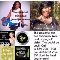 If missed out yesterday, here's another chance to hear this opportunity!! Afterwards call/txt me at (919)725-8306. Let's make it happen together!