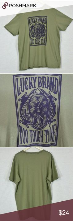 """Lucky Brand """"Too Tough To Die"""" T-Shirt Size XXL In excellent condition (tried on but never worn). Armpit to armpit: 26"""" & Length 32"""". Material: 100% cotton. Add to a bundle to receive 20% off. Offers welcomed. bin i9 Lucky Brand Shirts Tees - Short Sleeve"""