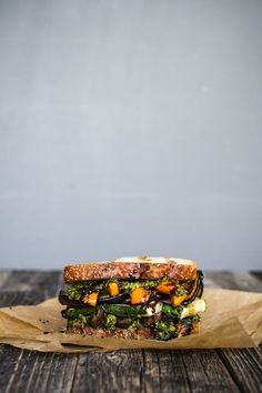 The Ultimate Veggie Sandwich - grilled zucchini, eggplant, bell pepper, and portabella with pesto and balsamic glaze