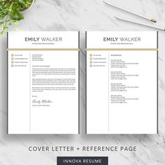 2 Page Resume Sample Glamorous Creative Resume Template For Word  Modern Resume Design  Cv .
