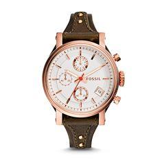 Original Boyfriend Chronograph Raisin Leather Watch - Fossil