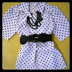 Vintage polka dot blouse. This is a true vintage item and is really cute. Belt and beads not included. 100% polyester womens size small. Adorable for a retro or business look. American Vintage Tops Button Down Shirts