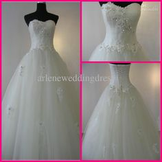 Wholesale Beautiful Ball gown Sweetheart Tulle Appliques Floor length White Wedding Dresses Bridal Gown Dress, Free shipping, $109.76-124.32/Piece | DHgate