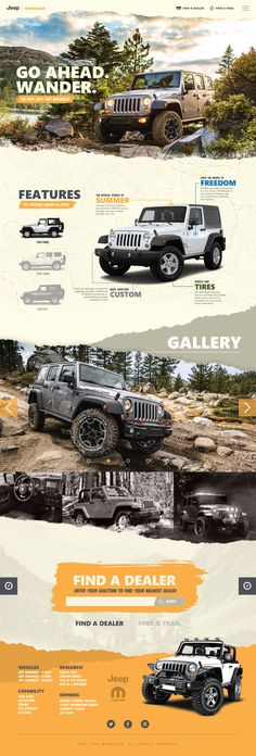 A Wrangler site concept I worked up. As a former Wrangler owner, I remember the fun that came from owning a Jeep. I wanted color and photos to do the talking with this mock. Jeep's current website lacked the color and fun that I always experienced in owni Cool Web Design, Design Logo, Web Design Tips, Design Poster, Email Design, App Design, Layout Web, Website Layout, Layout Design