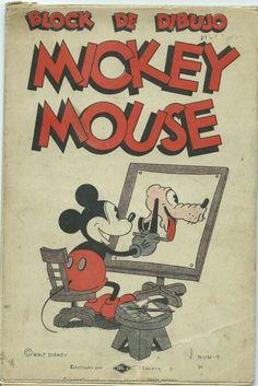 Antiguo Block de dibujo Mickey Mouse Pluto Walt Disney