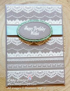 Embossed Detailed Lace with Avant Garden and Glimmer Paper – Sale-A-Bration Video SeriesAlthough this is a portrait style card it would work equally well as a tent fold card Card base is 21cm x 14.8cm scored and folded at 10.5cm or 5 1/2″ x 8 1/2″ scored and folded  at 4 1/4″ Layer 1 14.3cm x 10cm or 5 1/4″ x 4″ About 15cm or 6″ ribbon Scarp of card for Ovals