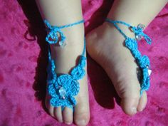Beach Baby Barefoot Sandals by ForgetMeKnotsCrochet on Etsy, $12.00