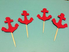 12 Nautical Cupcake Toppers/ Anchor Cupcake Toppers/  Anchor Party Decorations/ 1st birthday party/ choose your own colors by OneDestination on Etsy https://www.etsy.com/listing/164379651/12-nautical-cupcake-toppers-anchor