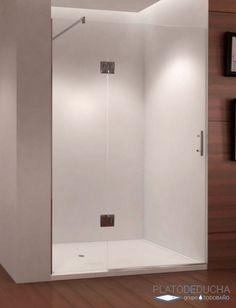 Mampara de ducha Frontal Abatible con un Fijo y una Puerta Abatible Kairos. Cristal con Tratamiento Antical