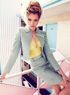 typical 50s housewife photoshoot, a key inspiration to the pastels used on the ss12 catwalks
