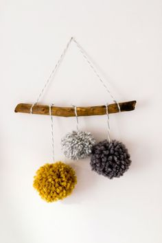 Natural Wood Pom Pom Mobile, Neutral Grey/Gray and Mustard, Woodland Nursery Wall Hanging, Rustic Decor