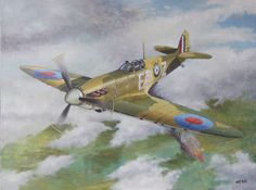 Spitfire - Painting by Bram de Jong, oil paint on linen, size 60 x 80 cm, available