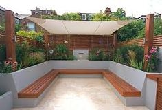 Garden seating - 40 Generous DIY Outdoor Bench Design Ideas for Backyard & Frontyard Backyard Garden Design, Balcony Garden, Patio Design, Garden Spaces, Garden Sail, Garden Leave, Pergola Patio, Backyard Patio, Backyard Landscaping