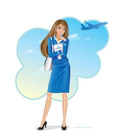 KLM Cityhopper Cabin crew illustration, art print A3 size, printed on acid free art print stock. Drawn in the style of Barbie. I am an official illustrator for Barbie at Mattel and this is drawn to her unique style :)