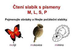 Čtení slabik s písmeny M, L, S, P Pojmenujte obrázky a říkejte počáteční slabiky. motýlmakovicemimino.