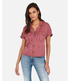97119ce26b4 Express Womens Notch Collar Pocket Shirt Pink Women s Xxs Pink XXS