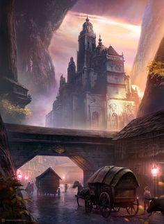 Ideas Landscaping Art Fantasy For 2019 Fantasy City, Fantasy Castle, Fantasy Places, Sci Fi Fantasy, Fantasy World, Dark Fantasy, Fantasy Art Landscapes, Fantasy Landscape, Landscape Art