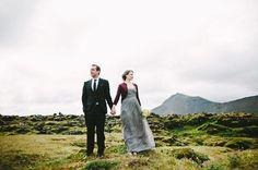 Unconventional wedding dress and a destination wedding set in idyllic Iceland