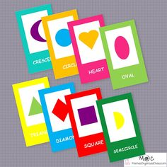 Basic shape flashcards with vibrant colors.  These flashcards are available as an instant download. Includes 12 flashcards that are 3x5 inches (will fit on a notecard perfectly):  - Shape - Circle - Triangle - Oval - Diamond - Star - Heart - Pentagon - Hexagon - Rectangle - Semicircle - Crescent  All of the colors of the rainbow are used, so these flashcards can also be used when teaching colors.  This is a pdf file that can be printed instantly. The file contains 4 pages with 3 flashcards…