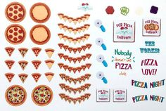 Pizza Night Stickers by VintageGypsyRoad on Etsy
