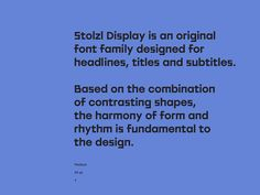 Stolzl Display - Type Family on Behance