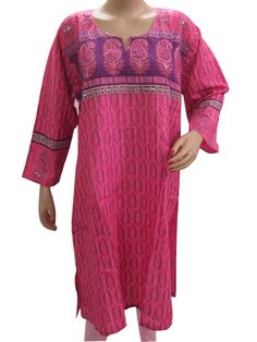 Amazon.com: Pink Sequin Kurta, Womens Indian Kurti Cotton Floral Printed Top Tunic India Clothing Xl: Clothing