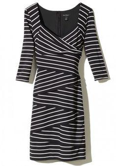 a056c728755 White House Black Market Three Quarter Sleeve Instantly Slimming Yarn Dye  Stripe Dress  BellevueFW Stripe