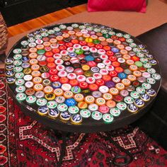Bottle Cap Table with Poured Resin Surface.... Been saving all my bottle caps for this project :-)