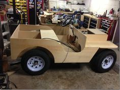 Alternative Insanity--tractors, go-karts, & other motorized machines - The Something Awful Forums Mini Jeep, Mini Bike, Homemade Kids Toys, Gem Cars, Wooden Go Kart, Homemade Go Kart, Custom Golf Carts, Wooden Toy Cars, Ford Mustang Convertible