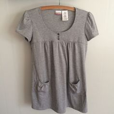 Grey Scoop Neck Blouse Grey Scoop Neck Blouse. Worn a handful of times, in great condition. No Boundaries size small No Boundaries Tops Blouses