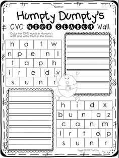 Find CVC words on Humpty's wall. This pack is full of great literacy and math worksheets all with a nursery rhyme theme. $