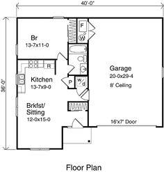 Garage Apartment Plan 30030 | Total Living Area: 687 sq. ft., 1 ...