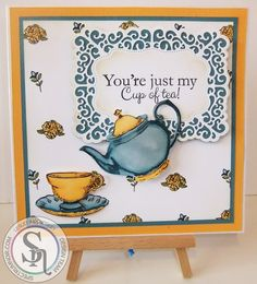 A 7 inch square card made using Sheena's my cup of tea stamp and die set and coloured with the new vintage set of Spectrum Noir pens. More details can be found at http://stampingbubbles.blogspot.co.uk/2016/11/my-cup-of-tea.html