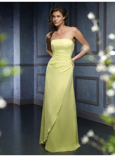 Sheath Strapless Sleeveless Ruching Empire Floor-length Chiffon Celebrity Dresses WE0877