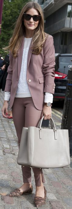 Olivia Palermo's perfectly composed look with great dusty pink hues