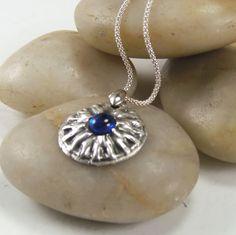Fine Silver Necklace Sapphire Zirconium 20 inch by MostlyStoneware, $85.00