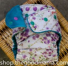 Goodmama Sakura Bunch Fitted Diaper - One-Size TURNED (woven) - Pacific Cotton Velour